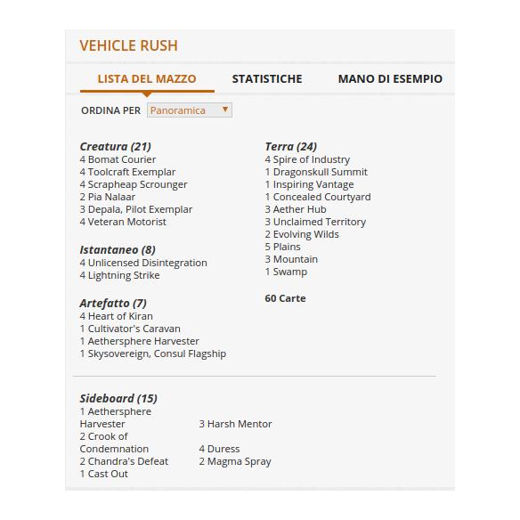 Challenger Deck - Vehicle Rush + Penna Fantàsia (ENG) Mazzi Precostruiti