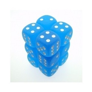 Set d6 Frosted Caribbean Blue/white - Chessex CHX 27616  - Chessex 8,90 €