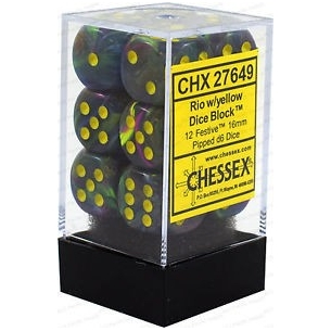 d6 Set Festive Rio w/yellow - Chessex CHX 27649 Chessex 8,90€