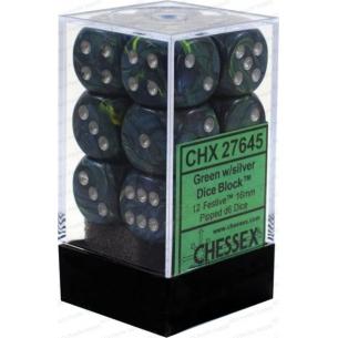 Set d6 Festive Green w/silver - Chessex CHX 27645  - Chessex 8,90€