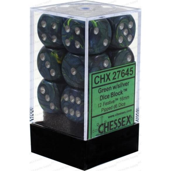 Chessex - Festive Green w/silver - Dadi 6 facce Dadi