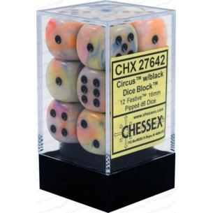 Set d6 Festive Circus w/black - Chessex CHX 27642  - Chessex 8,90€