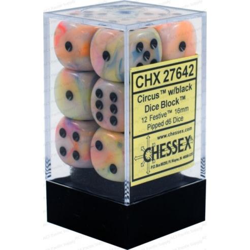 Chessex - Festive Circus w/black - Dadi 6 facce Dadi