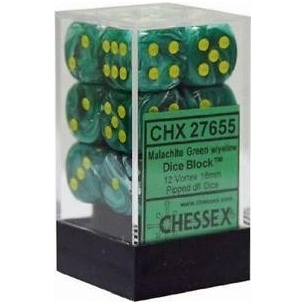Set d6 Vortex Malachite Green w/yellow - Chessex CHX 27655  - Chessex 8,90 €