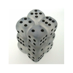 d6 Set Frosted Smoke w/white - Chessex CHX LE409 Chessex 8,90€
