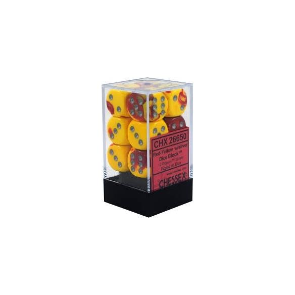 Chessex - Gemini Red-Yellow w/silver - Dadi 6 facce Dadi