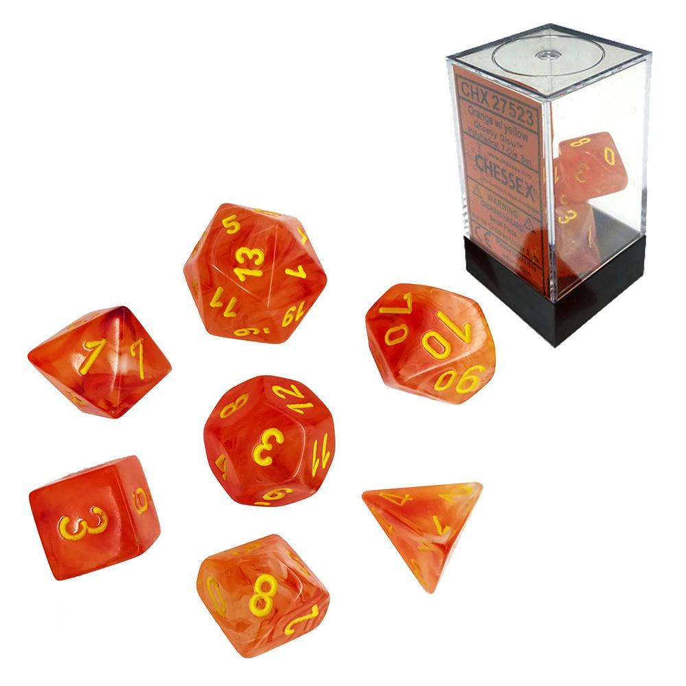 Mixed Dice Set Ghostly Glow Orange Wyellow Chessex Chx 27523