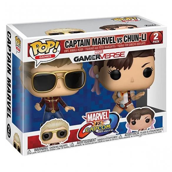 Funko Pop Games 2 Pack - Captain Marvel vs Chun-li - Marvel vs Capcom Infinite Funko