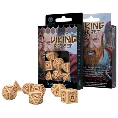 Q Workshop - Set di 7 Dadi Misti - Viking Beige e Borgogna Dadi