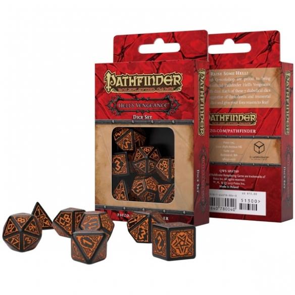 Q Workshop - Set di 7 Dadi Misti - Pathfinder Hell's Vengeance Nero e Arancione Dadi