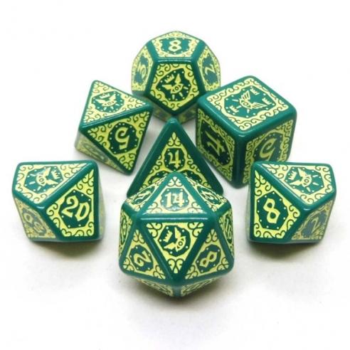 Q Workshop - Set di 7 Dadi Misti - Pathfinder Agents of Edgewatch Verde e Beige Dadi
