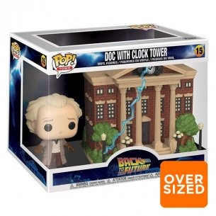 Funko Pop Town 15 - Doc With Clock Tower - Back To The Future (Oversized) POP!