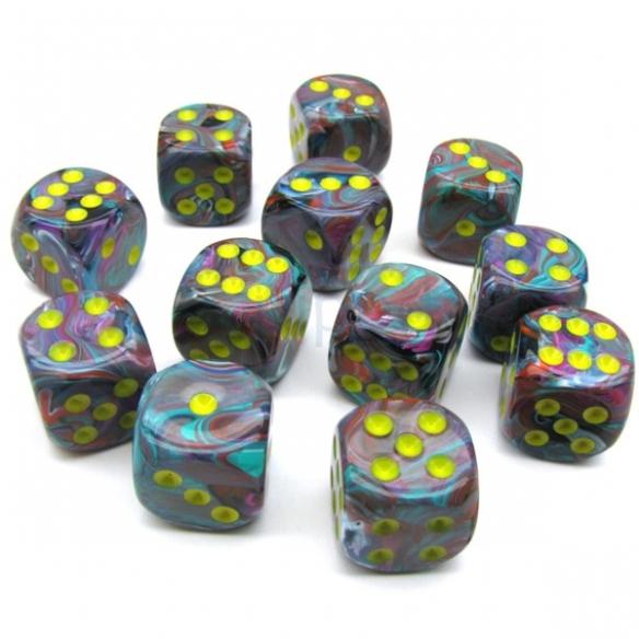 Chessex - Festive Rio w/yellow - Dadi 6 facce Dadi
