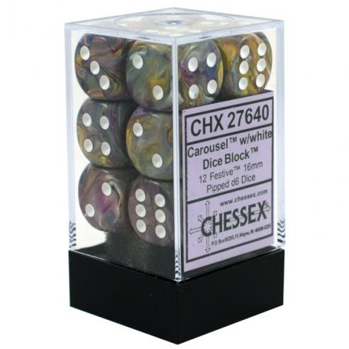 Chessex - Festive Carousel w/white - Dadi 6 facce Dadi