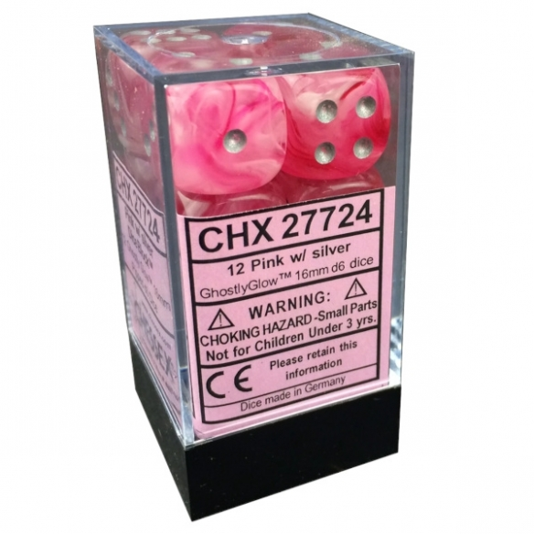 Chessex - Ghosly Glow Pink w/silver - Dadi 6 facce Dadi
