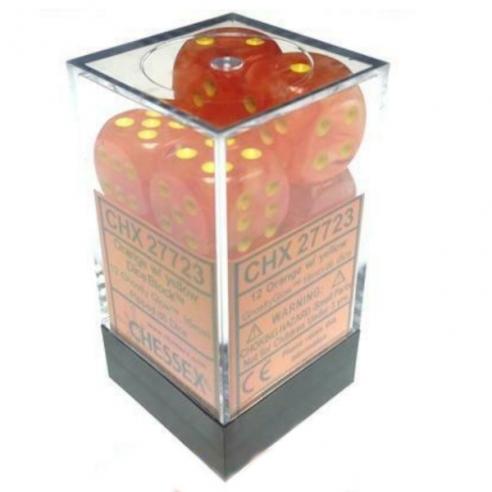 Chessex - Ghostly Glow Orange w/yellow - Dadi 6 facce Dadi