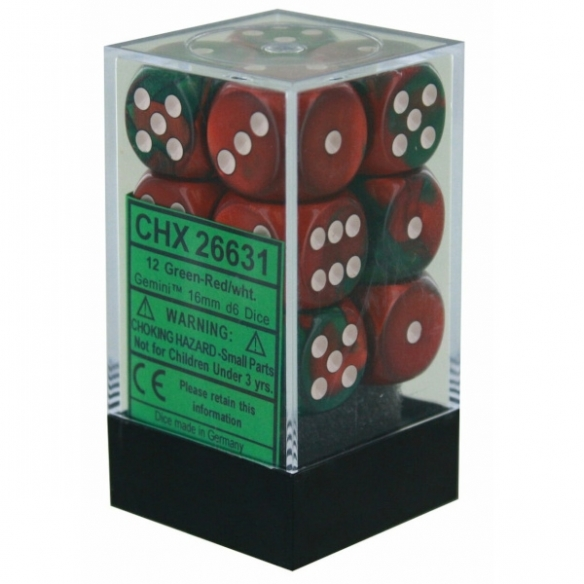 Chessex - Gemini Green-Red w/white - Dadi 6 facce Dadi