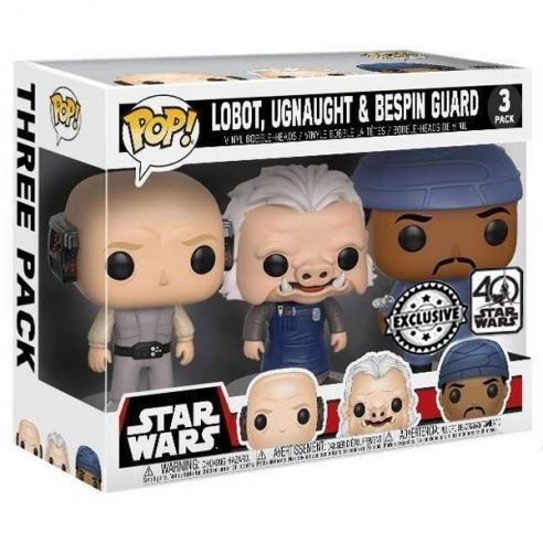 Funko Pop 3 Pack - Lobot, Ugnaught & Bespin Guard - Star Wars (Exclusive) (40 Star Wars) POP!
