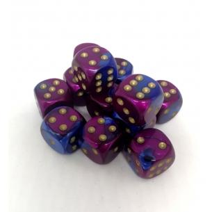 Set d6 16mm Gemini Blue-Purple/gold - Chessex CHX 26628  - Chessex 7,90€