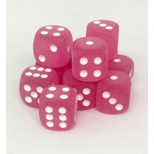 Set d6 16mm Frosted Pink w/white - Chessex CHX 27664 Chessex 7,90€